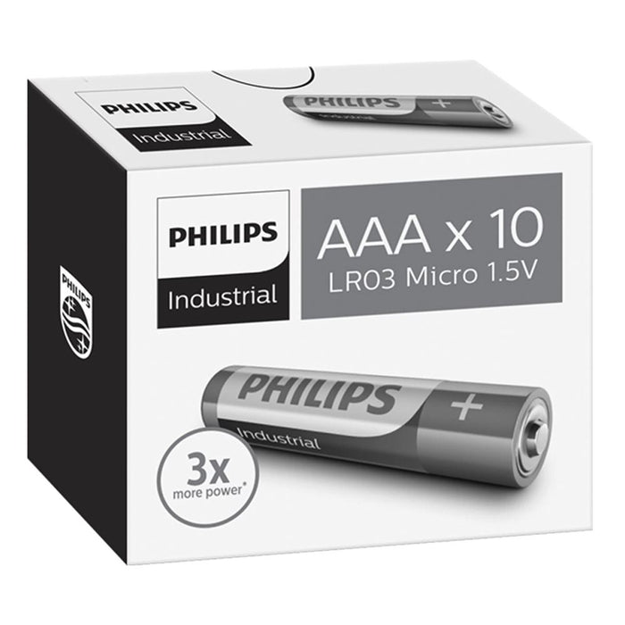 Philips Alkaline Industrial AAA / LR03 Batteries 10PK