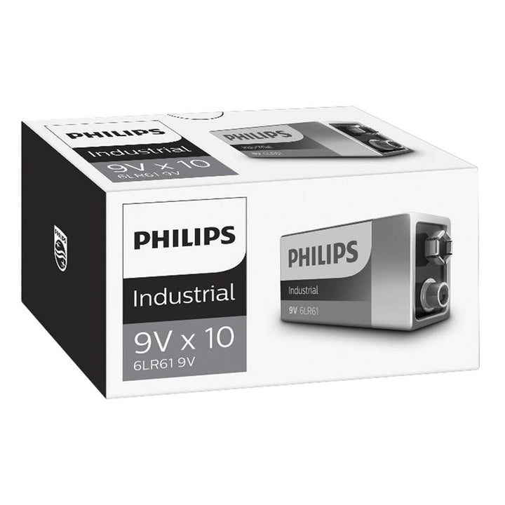 Philips Alkaline Industrial 9V PP3 Batteries 10PK
