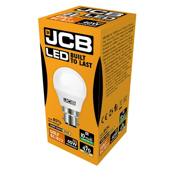 JCB LED B22 6W Golf Ball Bulb - Warm White