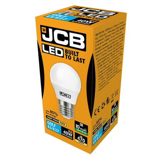 JCB LED E27 6W Golf Ball Bulb - Warm White