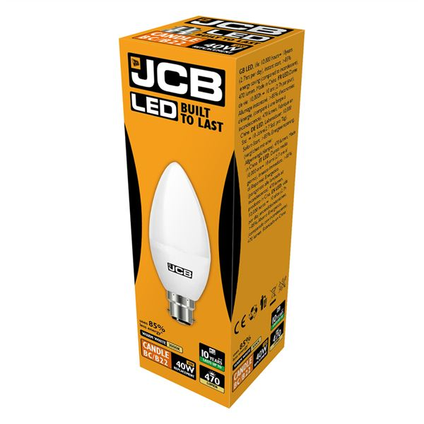 JCB LED B22 6W Candle Bulb - Warm White