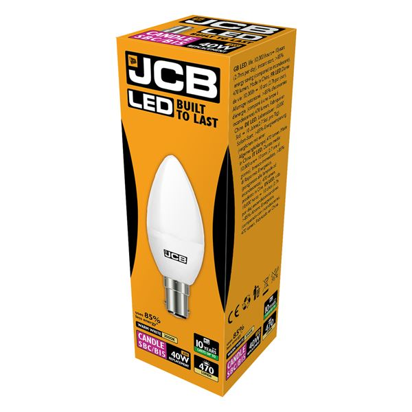 JCB LED B15 6W Candle Bulb - Warm White