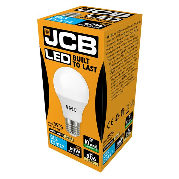 JCB LED E27 10W Light Bulb - Warm White