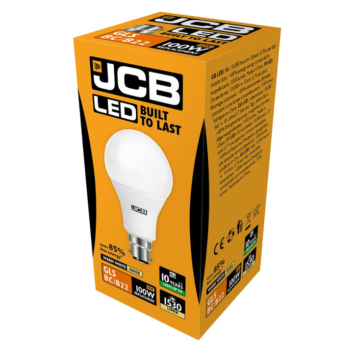 JCB LED B22 15W Light Bulb - Warm White