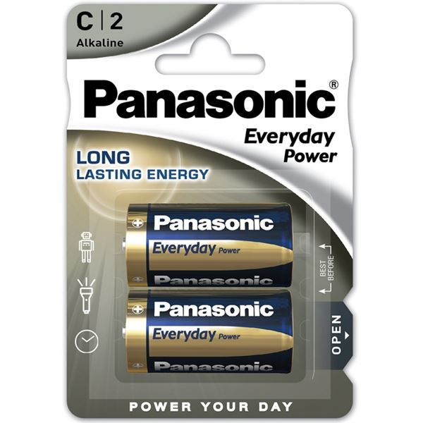 Panasonic Alkaline Everyday Power C / LR14 Battery Pack of 2