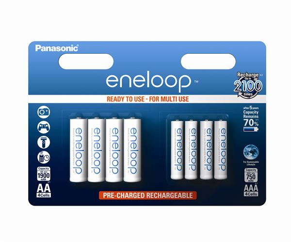 Panasonic Eneloop Combi Pack of 4xAA & 4xAAA Batteries