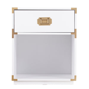 Campaign Tall Storage Side Table w/ Drawer - White