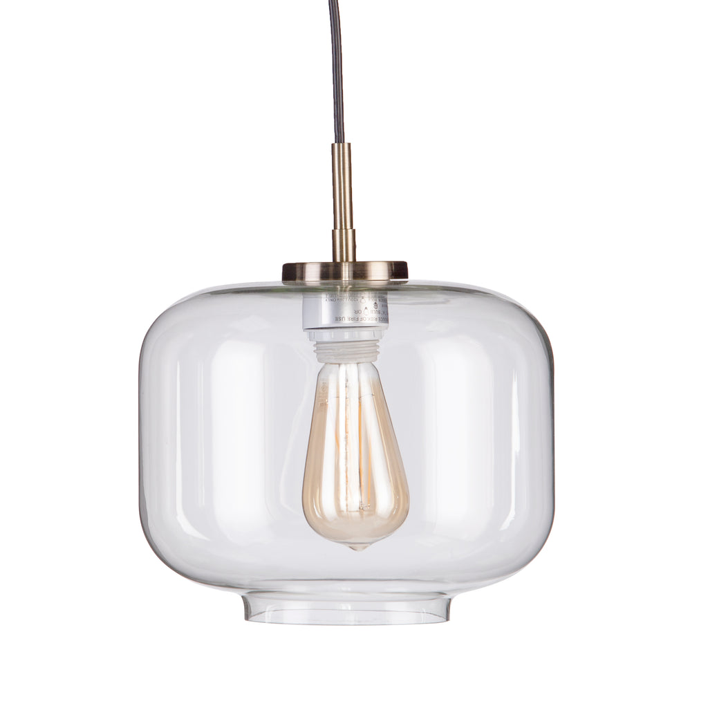 Close up photo of the pendant. Clear class shade  and adjustable black cord.