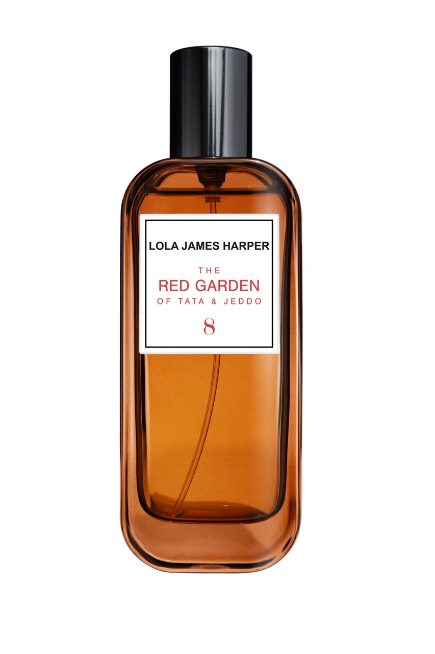 Lola James Harper The Red Garden of Tata & Jeddo. Oakmoss / Carrot/ Texas Cedar / Fir Balsam/Myrrh / Pine Needle / Rosemary. Our room sprays are made in France, using the finest ingredients & materials. Spray bottle. Travel size. Design by Rami Mekdachi the creator of Air de Colette and Costes fragrances.