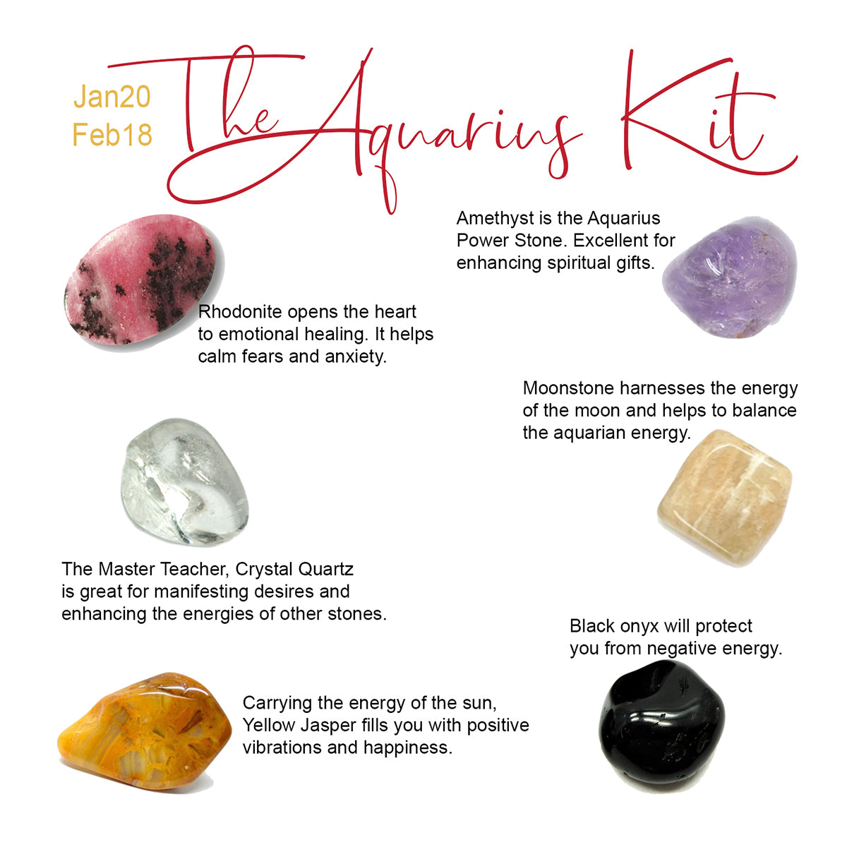 Aquarius Zodiac Kit | Rhodonite, Crystal Quartz, Yellow Jasper, Black Onyx, Amethyst, Moonstone healing crystals
