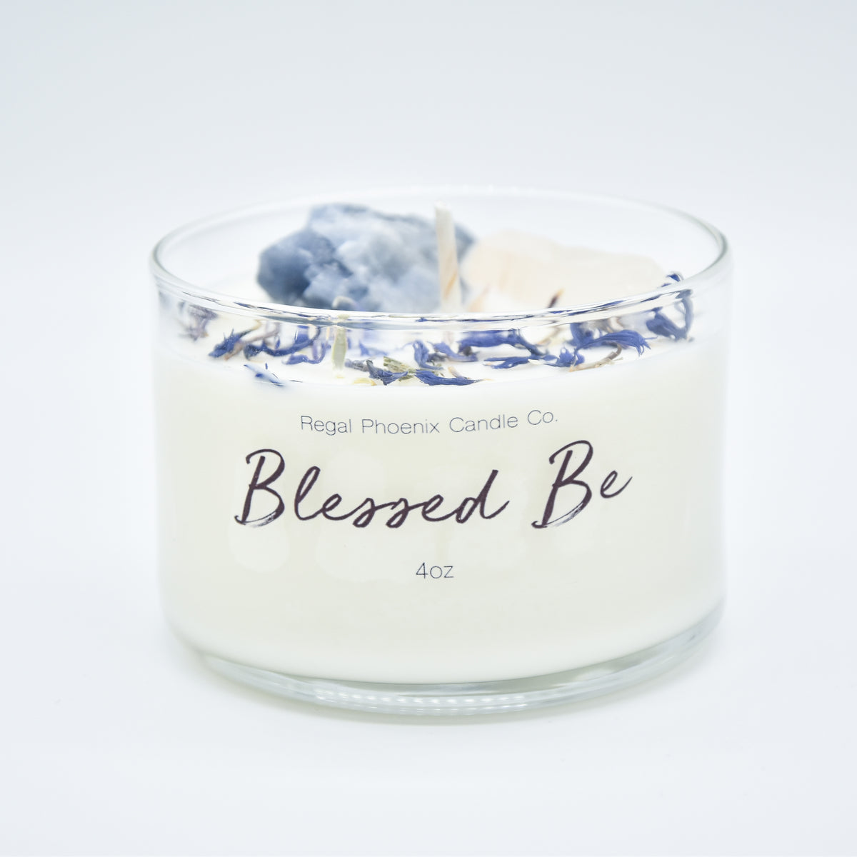 """Blessed Be"" Crystal Infused Soy Candle"