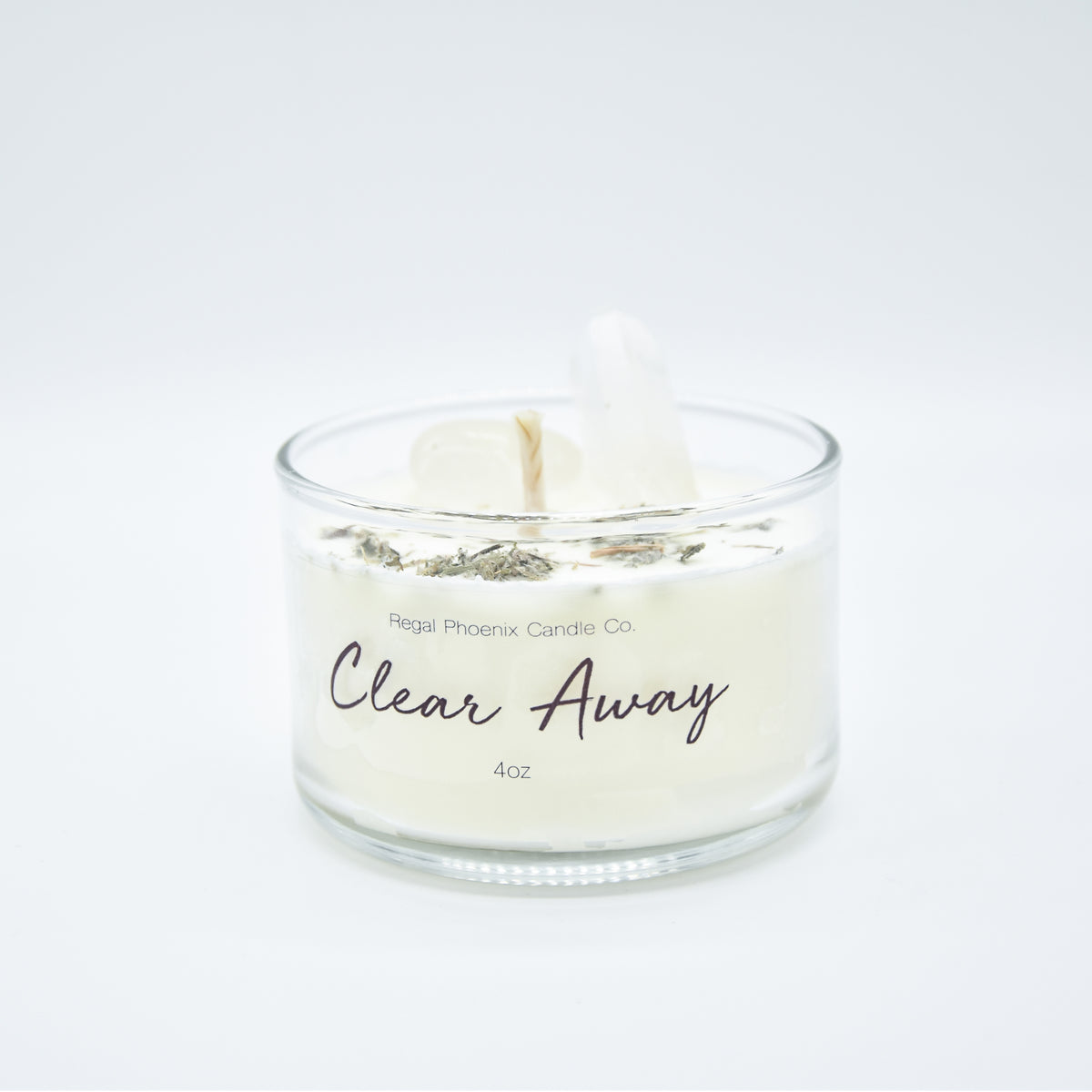 """Clear Away"" Crystal Infused Soy Candle"