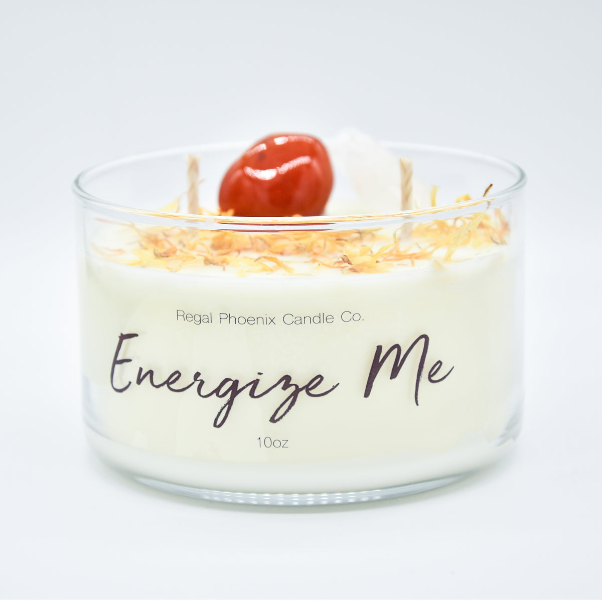 """Energize Me"" Crystal Infused Soy Candle"