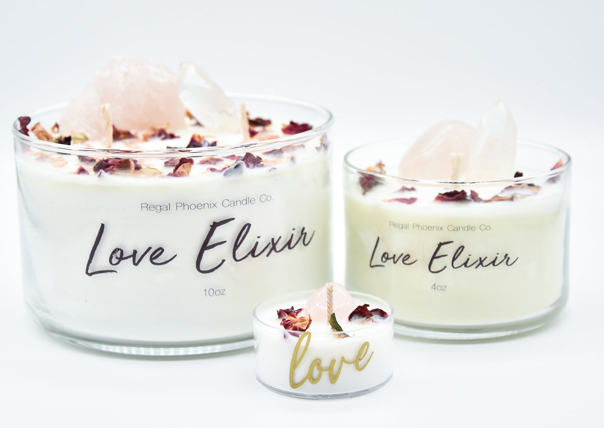 """Love Elixir"" Crystal Infused Soy Candle"