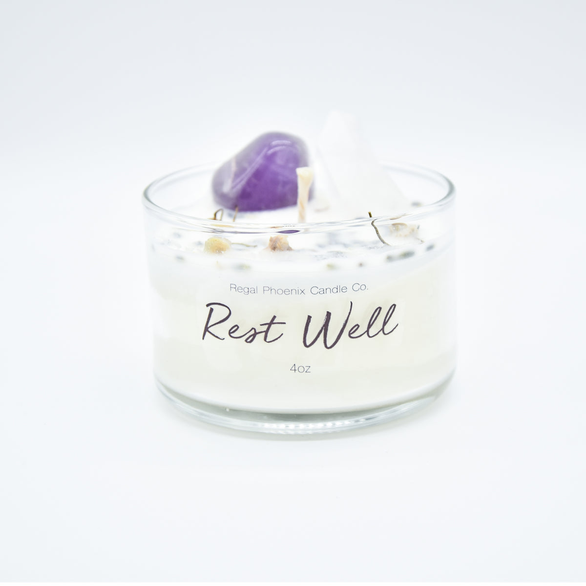 """Rest Well"" Crystal Infused Soy Candle"