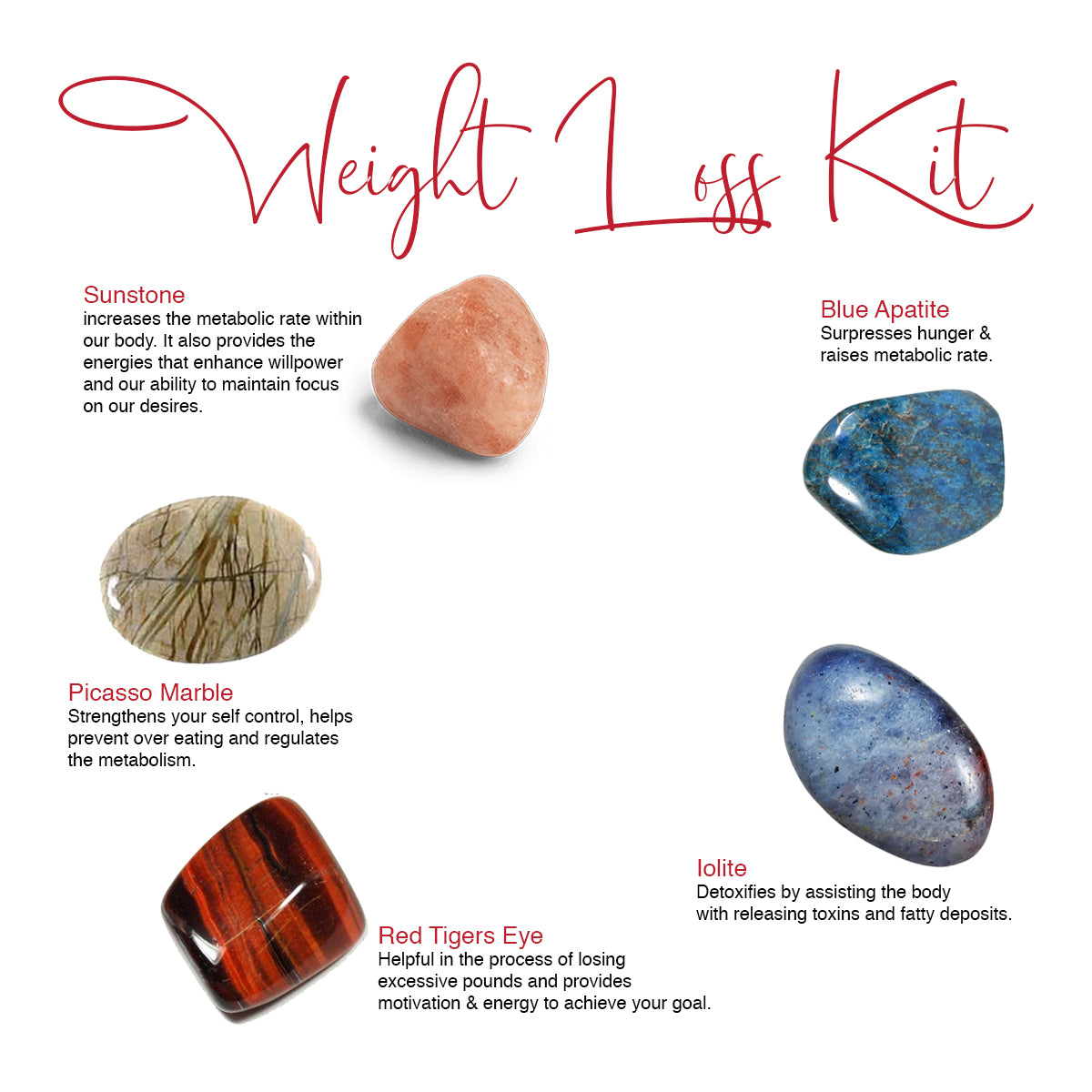 Weight Loss healing crystals | Sunstone, Picasso Marble, Red Tigers Eye, Iolite, Blue Apatite gemstones