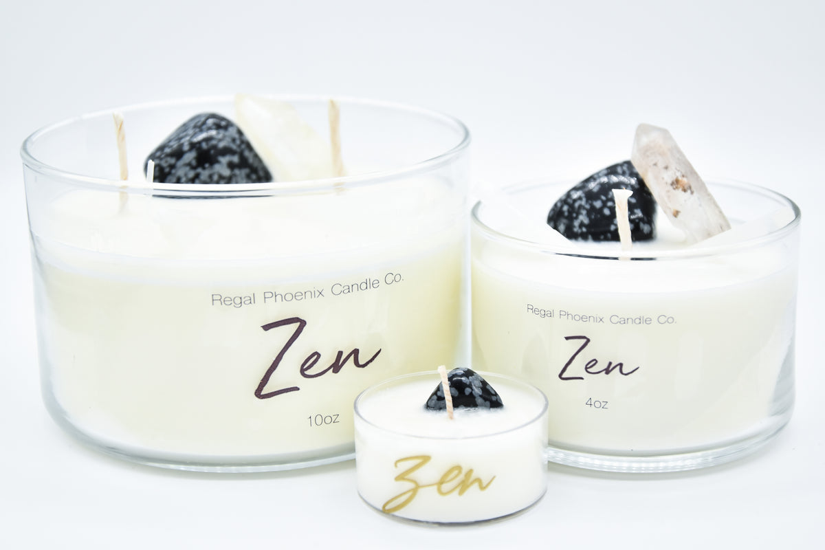 """Zen"" Crystal Infused Soy Candle"