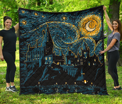 Hogwarts Starry Night Premium Quilt