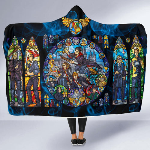 The Harry Potter Stained Glass Hooded Blanket