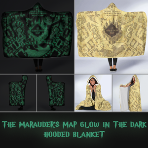 Harry Potter Marauder's Map Glow in The Dark Hooded Blanket