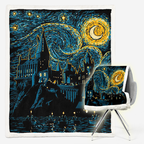 Hogwarts Starry Night Sherpa Blanket