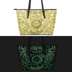 The Marauder's Map Glow in The Dark Leather Tote Bag