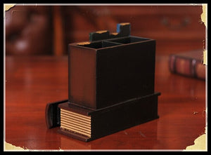 Retro Book Shape Wooden Pen Holder
