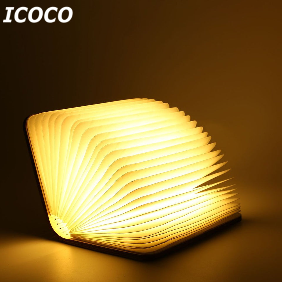 LED Foldable Wooden Book Lamp