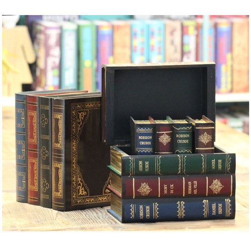 Vintage Books Shape Wooden Storage Boxes