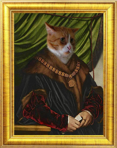 Hans Holbein Cat Portrait w/ golden frame