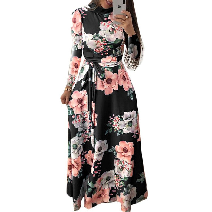 Sexy Floral Print Long Women Dress