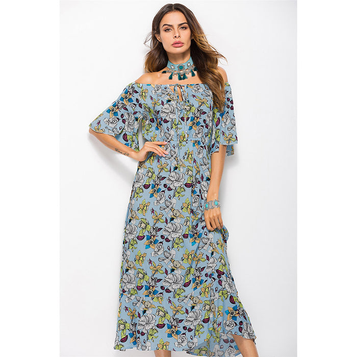 Floral Slash Neck Women Dress