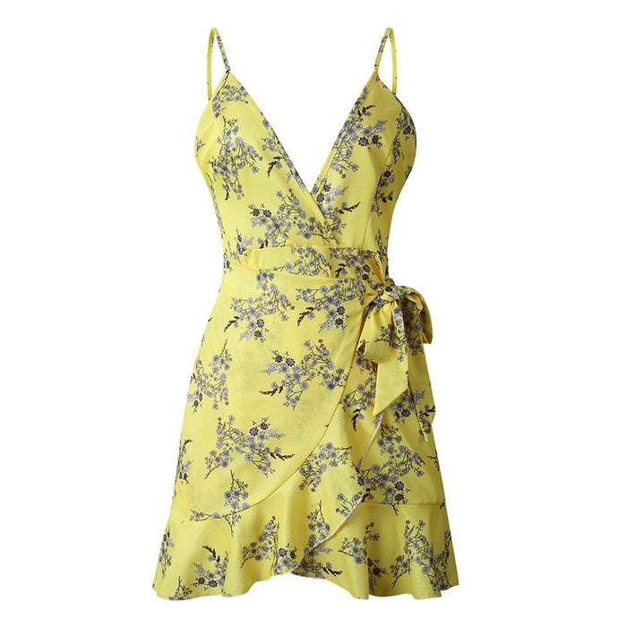 Deep V-Neck Sling Women Floral Vintage Dress