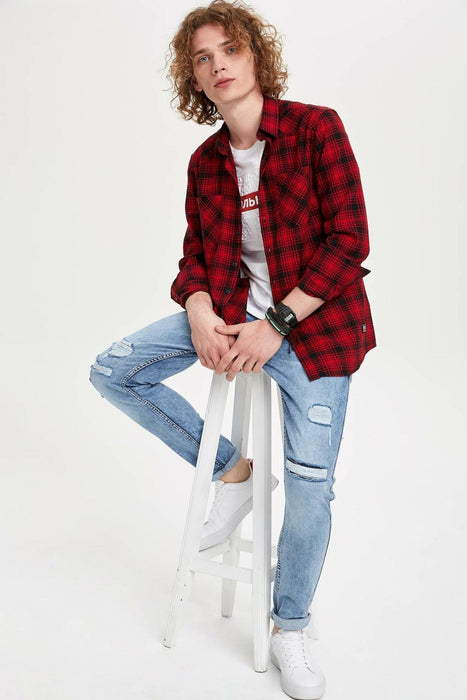 Man Long Sleeve Plaid Shirt