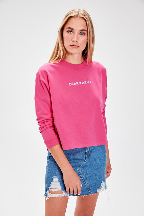 Fuchsia Printed Knitted Sweatshirt