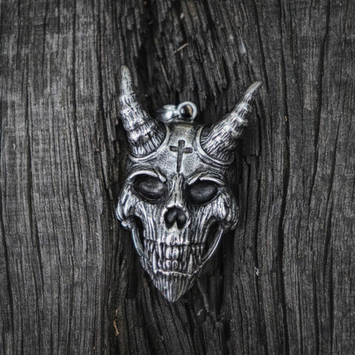 Gothic Devil Cross Stainless Steel Skull Pendant Necklace Biker Style Jewelry