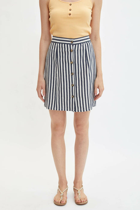 Women Summer White Black Striped A-line Skirts