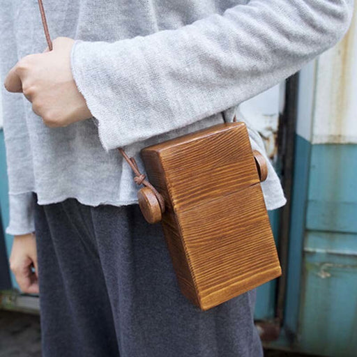 Small Wooden Casual Cowhide Rope Carry Case