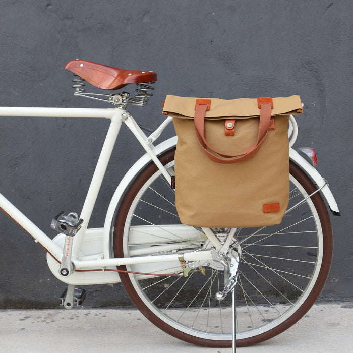 Vintage Bicycle Bag Pouch Bike Rear Seat Carrier Cycling Pannier Bags Pack Waxed Water Repellent Canvas