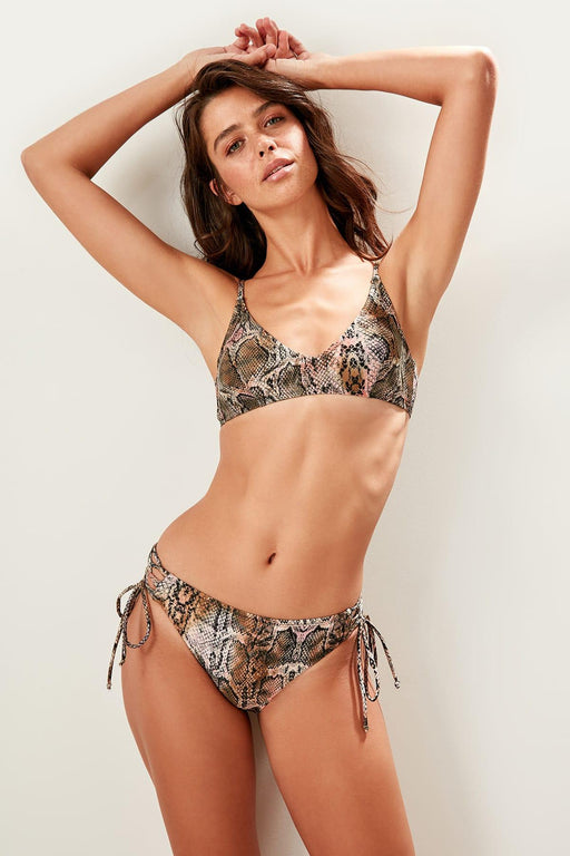 Snake Patterned Sides Lacing Detailed Bikini