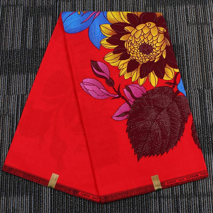Red Flower African Prints Ethnic Garment Fabric