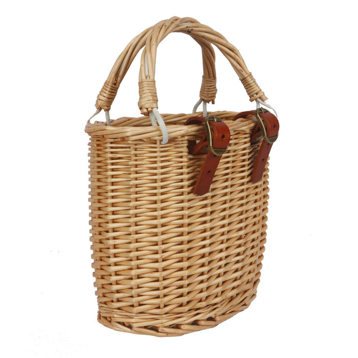 Vintage Wicker Bicycle Basket Bike Front Storage Pouch Handlebar Bag Leather Straps for Shopping Cycling Commuting
