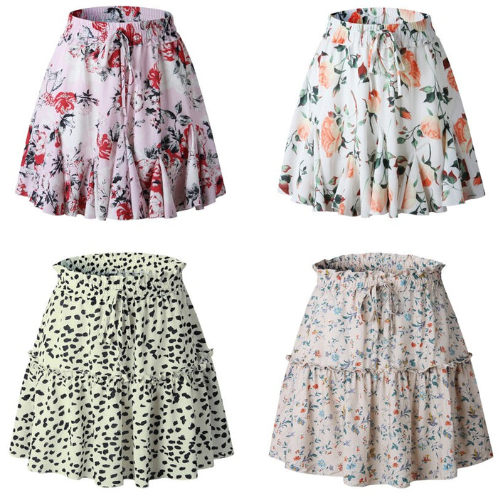 Sexy Print Ruffles High Waist Women Skirt