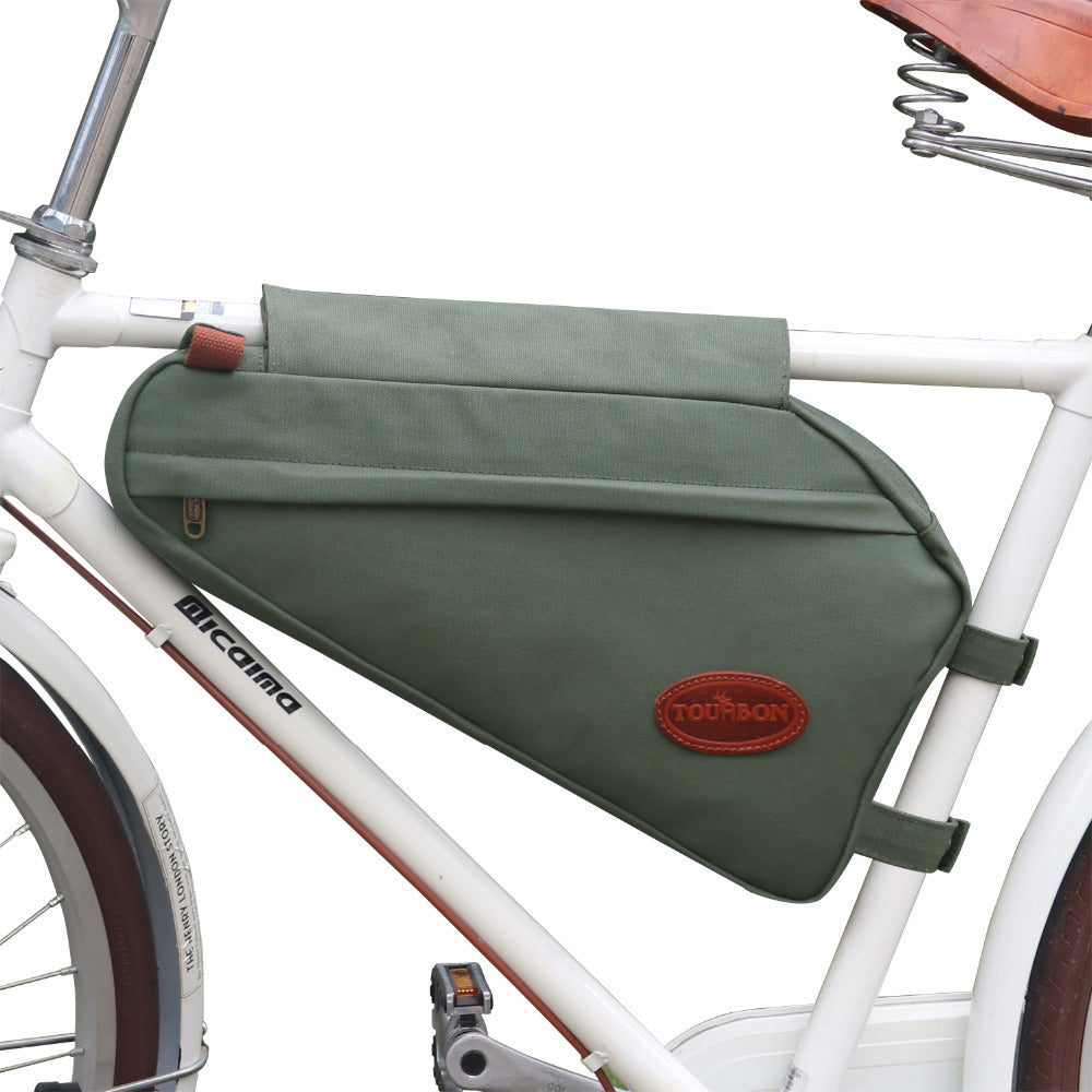 Vintage Bike Frame Tube Triangle Bag Bicycle Pouch Backpack Zippered Green Waxed Canvas Waterproof Cycling Accessories
