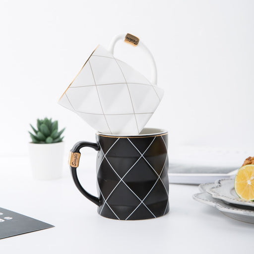 Nordic Golden, Black and White Grid Geometry Ceramic Coffee Mug