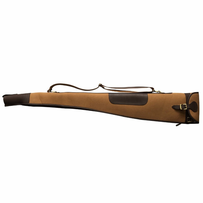 Hunting Accessories Classic Padded Brown Canvas & Leather Shotgun Case Slip Gun Protection Bag Carrier 130cm with Zipper