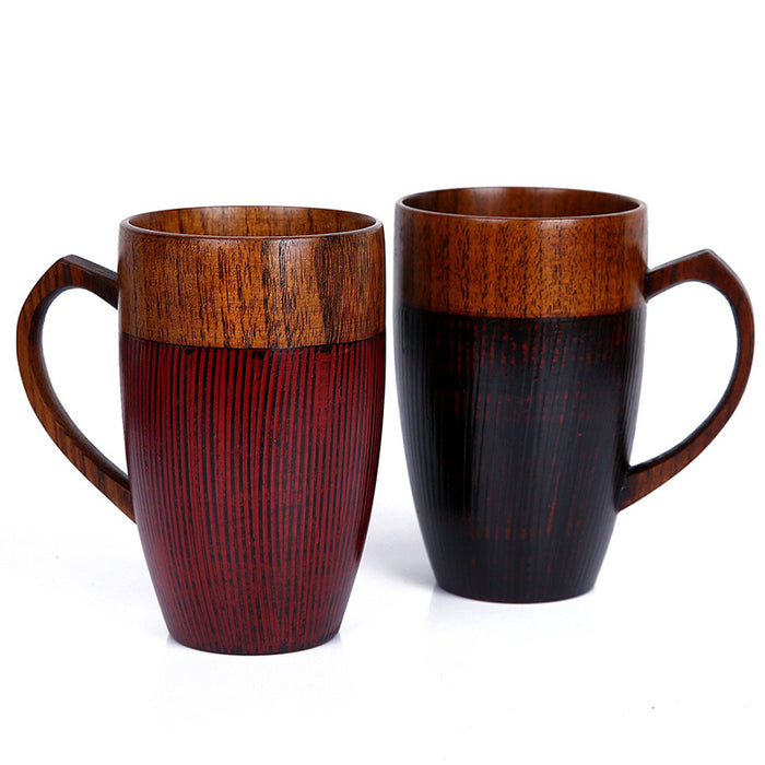 2 Pcs  Handcrafted Wooden Couple Mugs
