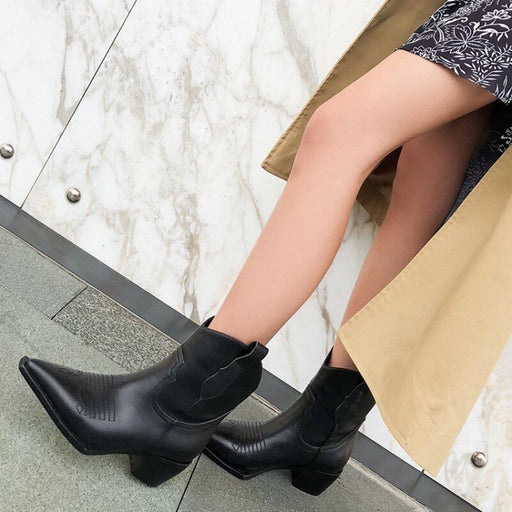 Autumn Winter Sharp Toe Zipper Pu Leather Boots