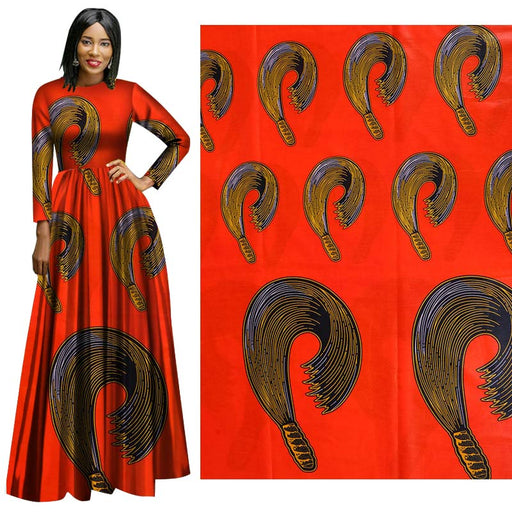 Orange African Prints Ethnic Garment Fabric