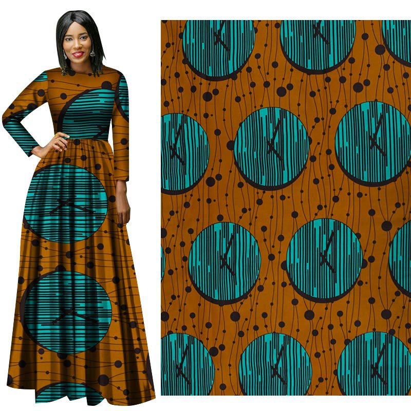 Clock Brown African Prints Ethnic Garment Fabric